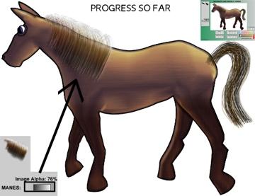Horse alpha mane transparency test