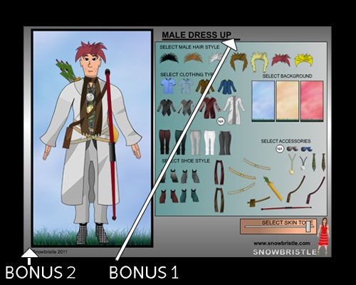 Male dress up game bonus item locations