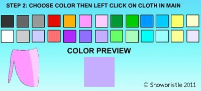 Dress up games color selection tool