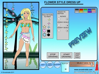 Flower style dress up interface preview