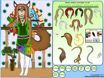 Hybrid anthro dress up character creation tool